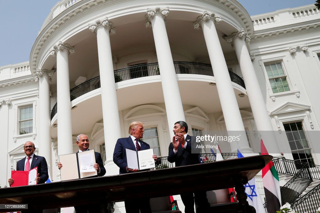 President Trump Hosts Abraham Accords Signing Ceremony On White House South Lawn : Foto di attualità