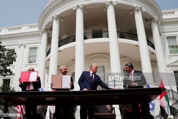Foreign Affairs Minister of Bahrain Abdullatif bin Rashid Al Zayani Prime Minister of Israel Benjamin Netanyahu US President Donald Trump and Foreign...