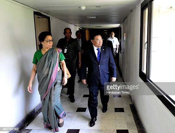 Foreign Affairs Minister of Myanmar Wunna Maung Lwin speaks to Nengcha Ibouvum Dean of Foreign Services Institute during his visit at the Institute...