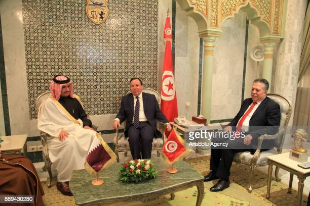 Foreign Affairs Minister of Qatar Mohammed bin Abdulrahman Al Thani meets with Tunisian Foreign Minister Humeys AlCihinavi at Foreign Ministry...