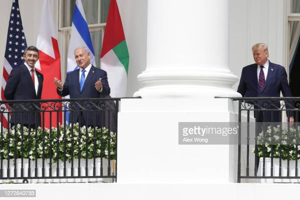 Foreign Affairs Minister of the United Arab Emirates Abdullah bin Zayed bin Sultan Al Nahyan Prime Minister of Israel Benjamin Netanyahu and US...
