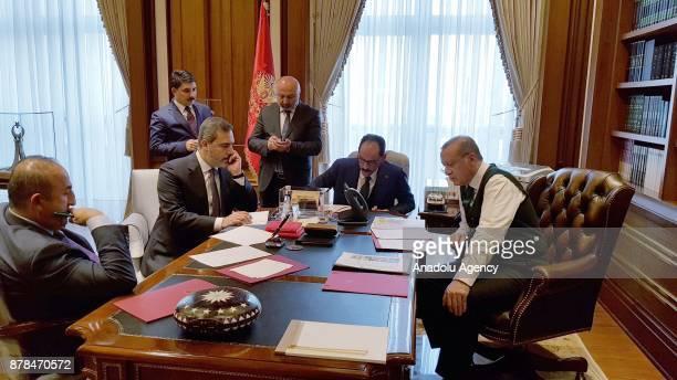 Foreign Affairs Minister of Turkey Mevlut Cavusoglu Chief of Turkish National Intelligence Agency Hakan Fidan and Turkish Presidential spokesman...