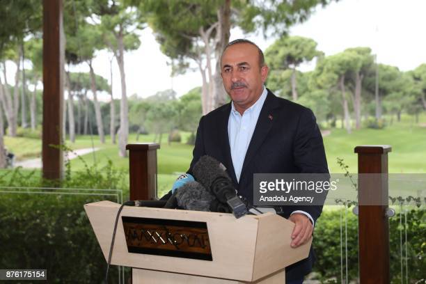 Foreign Affairs Minister of Turkey Mevlut Cavusoglu holds a press conference after his trilateral foreign ministers' meeting with Russian Foreign...