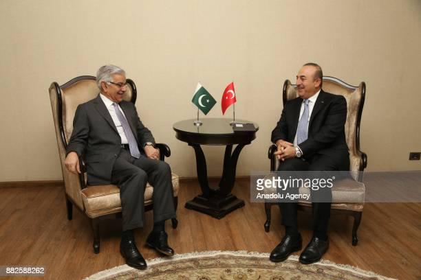 Foreign Affairs Minister of Turkey Mevlut Cavusoglu meets Pakistani Foreign Minister Khawaja Mohammed Asif ahead of TurkeyAzerbaijanPakistan Foreign...