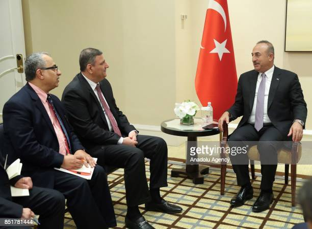 Foreign Affairs Minister of Turkey Mevlut Cavusoglu meets with General Coordinator of the High Negotiations Committee Riyad Hijab at Peninsula Hotel...