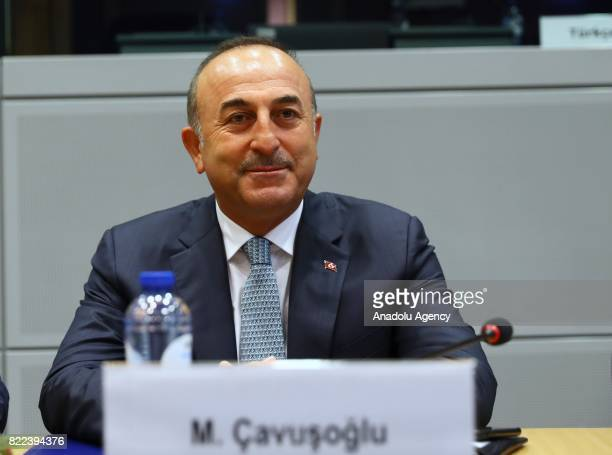 Foreign Affairs Minister of Turkey Mevlut Cavusoglu meets with the European Unions High Representative for Foreign Affairs and Security Policy and...