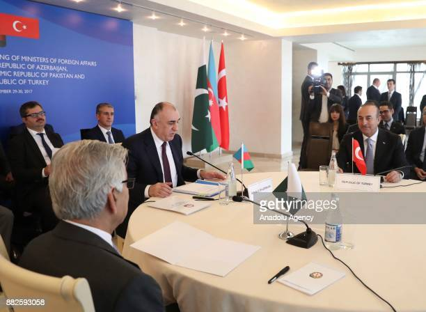 Foreign Affairs Minister of Turkey Mevlut Cavusoglu Pakistani Foreign Minister Khawaja Mohammed Asif and Foreign Minister of Azerbaijan Elmar...