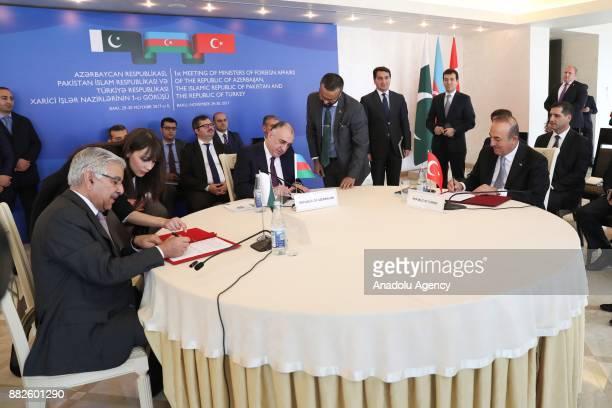 Foreign Affairs Minister of Turkey Mevlut Cavusoglu Pakistani Foreign Minister Khawaja Mohammed Asif and Azerbaijani Foreign Minister Elmar...