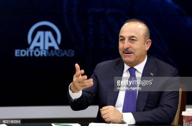 Foreign Affairs Minister of Turkey Mevlut Cavusoglu speaks to media at Anadolu Agency in Ankara Turkey on January 10 2018