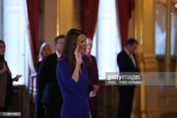 Foreign Affairs Minister Sophie Wilmes takes the oath before King Philippe - Filip of Belgium at the oath ceremony of the Vivaldi government, at the...
