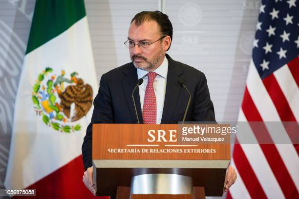 Foreign Affairs Secretary of Mexico Luis Videgaray speaks during a press conference as part of US Secretary of State official visit to Mexico at...