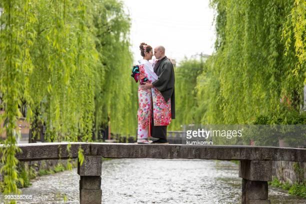 Foreign couple enjoying visit to Japan