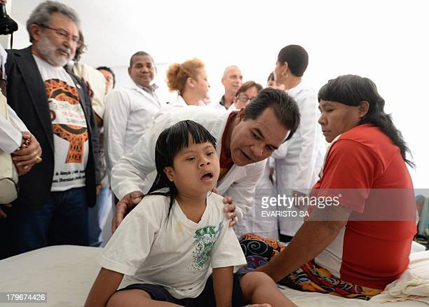 Foreign doctors mostly Cubans involved in the Brazilian government's More Doctors program visit the Indigenous Health Shelter that supports the basic...