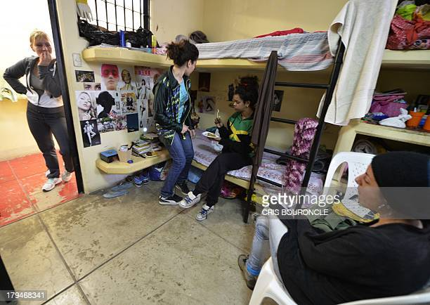 Foreign female inmates gather in a cell housing eight prisoners at the Ancon 2 prison part of the Piedras Gordas Model Penitentiary complex about 12...