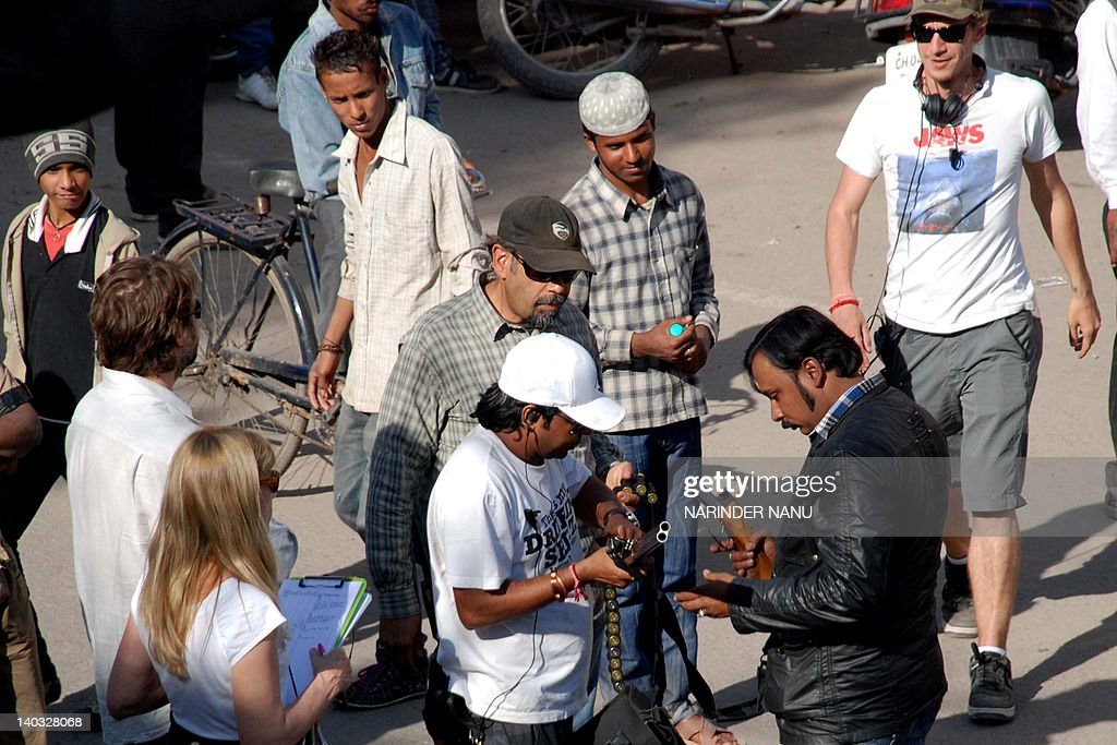 A foreign film production crew is seen on a street depicting Pakistan`s Abbottabad town in Kathryn Bigelow's forthcoming film on Osama bin Laden at...