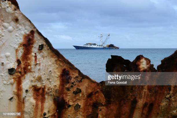 Foreign fishing motherships and ship wrecks on the shores of the lagoon on August 15 2018 in Funafuti Tuvalu The small South Pacific island nation of...