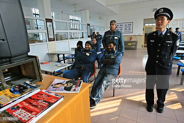Foreign inmates watch basketball match at the Shanghai Qingpu Prison on December 10 2006 in Shanghai China As the only local prison of the city that...