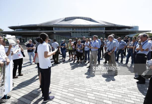 Foreign media affiliates are briefed about the Tokyo Metropolitan Gymnasium a 2020 Summer Olympics and Paralympics venue for table tennis on Sept 5...
