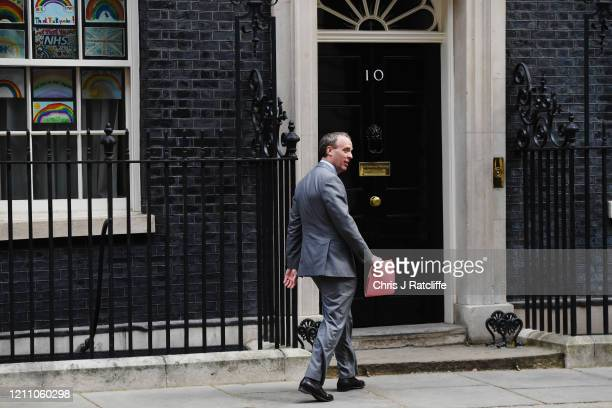 Foreign Minister Dominic Raab arrives at 10 Downing Street as Prime Minister Boris Johnson returns to work following his recovery from Covid19 on...
