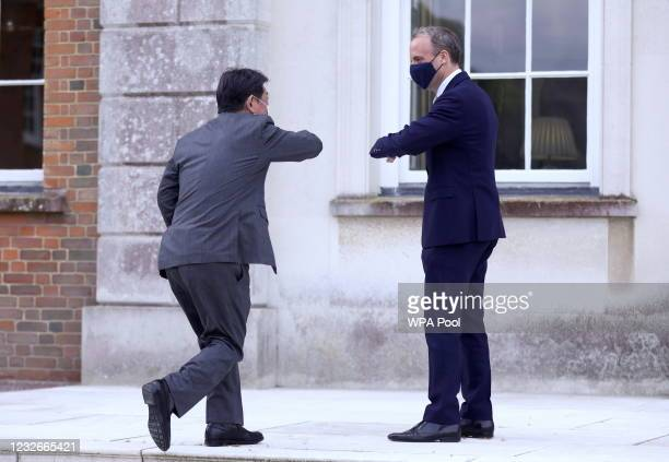 Foreign Minister Dominic Raab meets with the Japanese Foreign Minister Toshimitsu Motegi on May 3, 2021 in Kent, England.