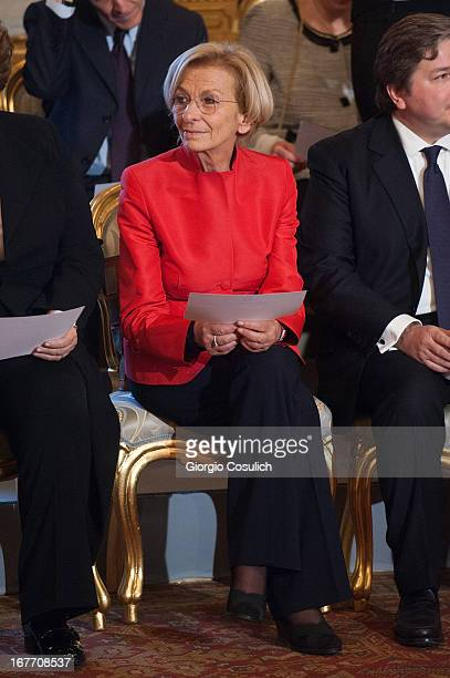 Foreign Minister Emma Bonino attends the swearing in ceremony of the new government at Quirinale palace on April 28 2013 in Rome Italy The new...