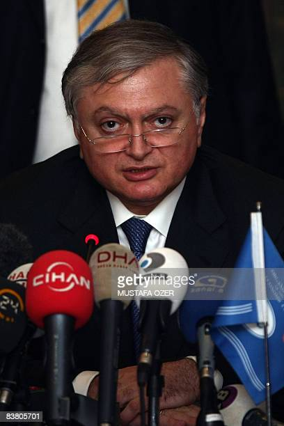 Foreign Minister for Armenia Edward Nalbandian talks to the media prior to a meeting with secretary general of the Black Sea Economic Coorporation ,...
