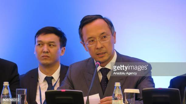 Foreign Minister for the Republic of Kazakhstan Kairat Abdrakhmanov makes a closing speech of the fifth round of Syria peace talks at Rixos President...