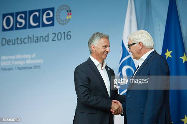 Foreign Minister FrankWalter Steinmeier and his Swiss counterpart Didier Burkhalter attend a conference of OSCE members states on September 1 2016 in...