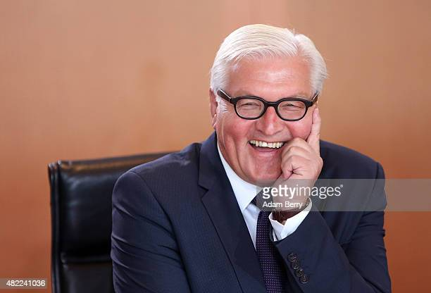 Foreign Minister FrankWalter Steinmeier arrives for the weekly German federal Cabinet meeting on July 29 2015 in Berlin Germany High on the meeting's...