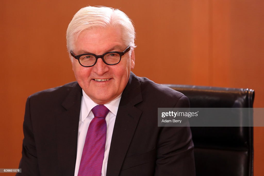 Foreign Minister Frank-Walter Steinmeier (SPD) arrives for the weekly German federal Cabinet meeting on November 30, 2016 in Berlin, Germany. High on the meeting's agenda was discussion of the presence of German police officers in Niger.