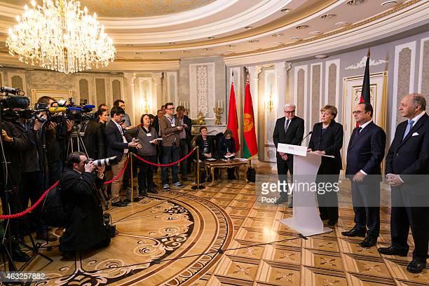 Foreign Minister Frank-Walter Steinmeier , Chancellor Angela Merkel, French President Francois Hollande and French Foreign Minister Laurent Fabius...