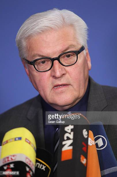 Foreign Minister FrankWalter Steinmeier gives a statetemnt to the media about German policy towards the events in Ukraine at a federal congress of...