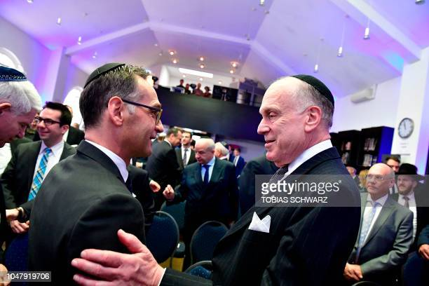 Foreign minister Heiko Maas greets the President of the World Jewish Congress Ronald Lauder prior the solemn ordination ceremony of three rabbis and...
