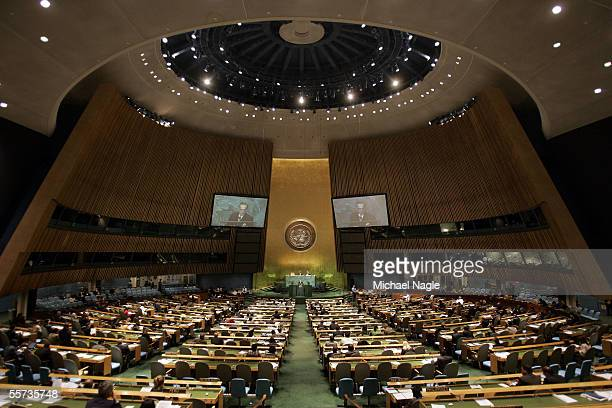 Foreign Minister Khurshid Kasuri of Pakistan addresses the 60th session of the UN General Assembly at the United Nations on September 21, 2005 in New...