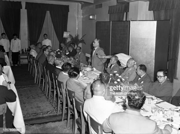 Foreign Minister Mamoru Shigemitsu addresses during a meeting of the Liberal Democratic Party on July 16, 1956 in Tokyo, Japan.