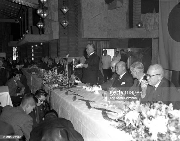 Foreign Minister Mamoru Shigemitsu addresses during the luncheon hosted by the America-Japan Society on February 5, 1955 in Tokyo, Japan.