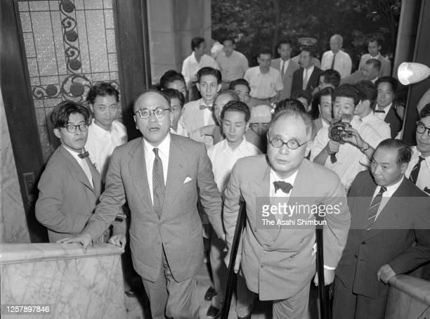 Foreign Minister Mamoru Shigemitsu and Shunichi Matsumoto visit the residence of Prime Minister Ichiro Hatoyama on September 3, 1956 in Tokyo, Japan.