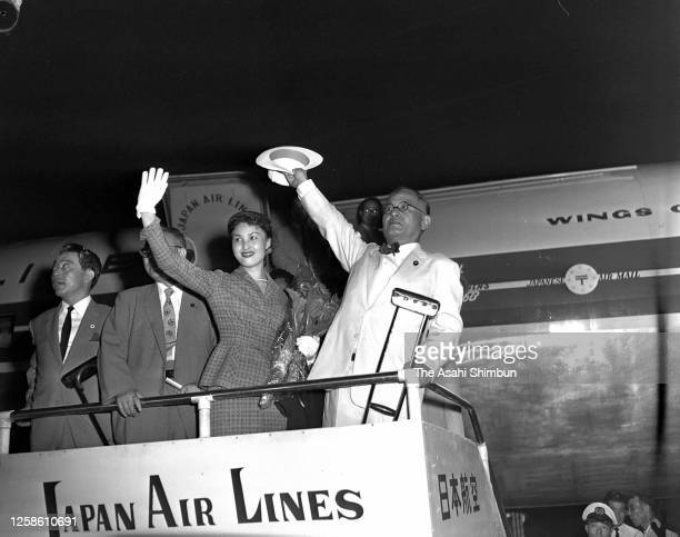 Foreign Minister Mamoru Shigemitsu is seen on departure for the United States at Haneda Airport on August 23, 1955 in Tokyo, Japan.