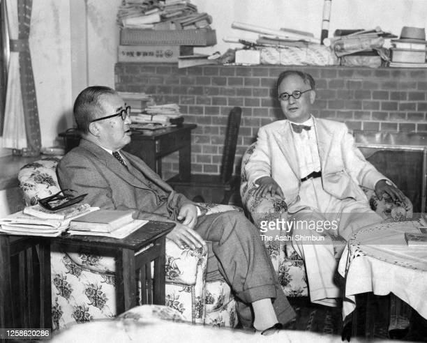 Foreign Minister Mamoru Shigemitsu meets Prime Minister Ichiro Hatoyama after visiting the United States on September 8, 1955 in Karuizawa, Nagano,...