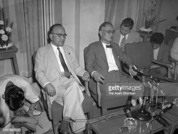 Foreign Minister Mamoru Shigemitsu speaks during a press conference ahead of his visit to the Soviet Union on July 24, 1956 in Tokyo, Japan.