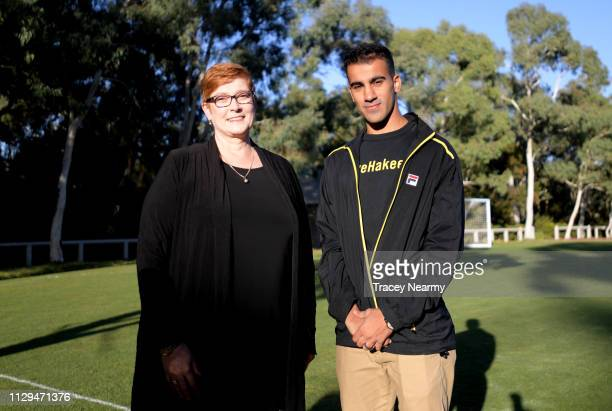Foreign Minister Marise Payne with Bahraini refugee Hakeem al-Araibi at a welcome home football match at Parliament House on February 14, 2019 in...