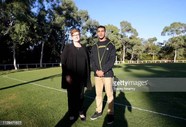 Foreign Minister Marise Payne with Bahraini refugee Hakeem alAraibi at a welcome home football match at Parliament House on February 14 2019 in...