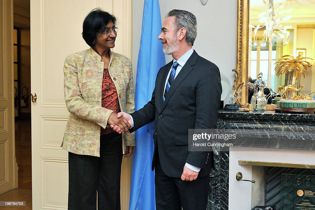 Foreign Minister of Brazil, Antonio Patriota (R), meets the UN High Commissioner for Human Rights, Navi Pillay (L) at the Palais Wilson, part of the United Nations, on November 21, 2012 in Geneva, Switzerland. Brazil has just been elected to the UN Human Rights Council. Minister Patriota and High Commissioner Pillay will examine the main topics of the human rights agenda.