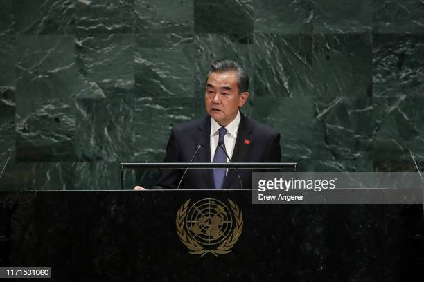 Foreign Minister of China Wang Yi addresses the United Nations General Assembly at UN headquarters on September 27 2019 in New York City World...