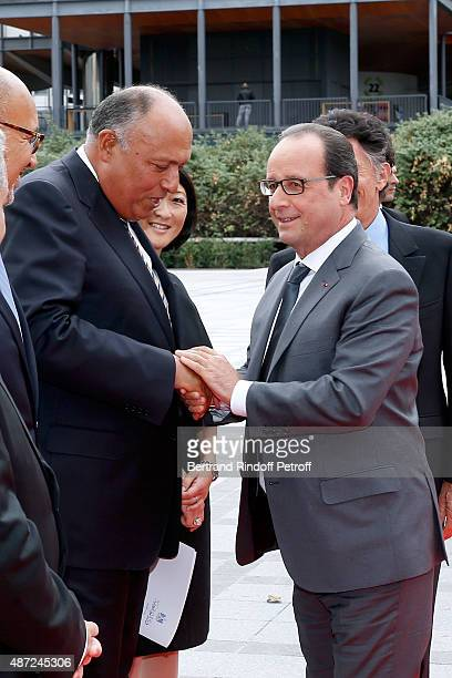 Foreign Minister of Egypt Sameh Shoukry and President of the French Republic Francois Hollande attend the Inauguration of the 'Osiris, Mysteres...