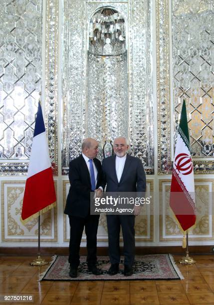 Foreign Minister of France JeanYves Le Drian meets Iranian Foreign Minister Mohammad Javad Zarif in Tehran Iran on March 5 2018