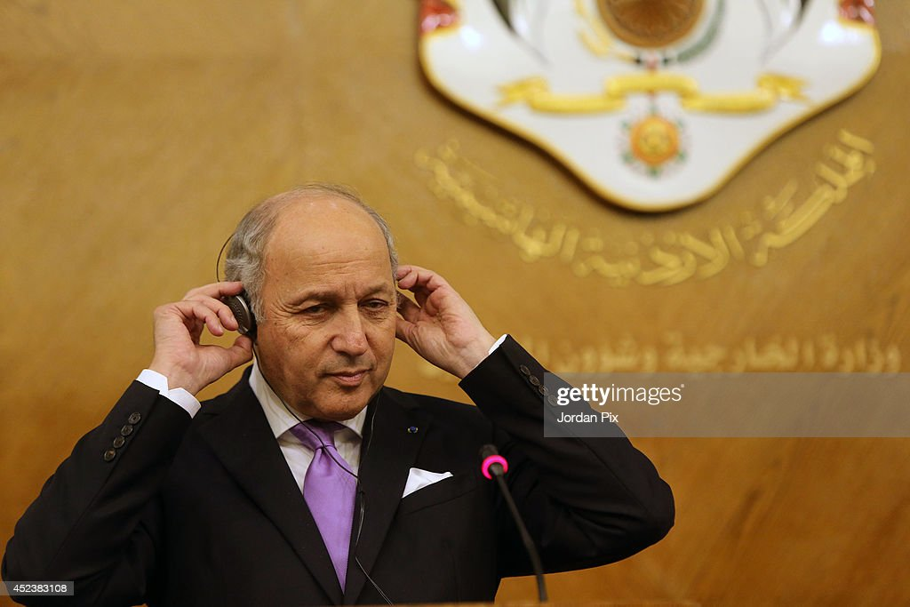 Foreign Minister of France Laurent Fabius holds a press conference with his Jordanian counterpart Nasser Judeh upon his arrival for talks in Amman, Jordan, July 19, 2014.