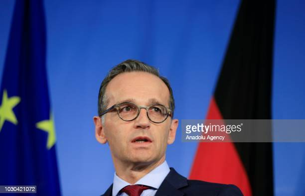 Foreign Minister of Germany Heiko Maas and Greek Cypriot Foreign Minister Nikos Christodoulides hold a joint press conference following their meeting...