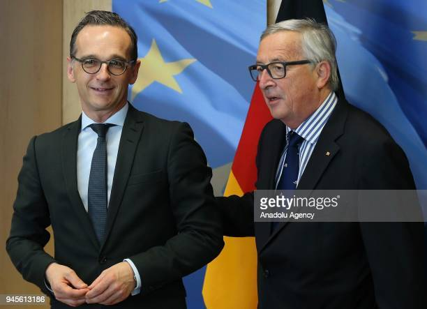 Foreign Minister of Germany Heiko Maas meets European Commission Chief JeanClaude Juncker in Brussels Belgium on April 13 2018