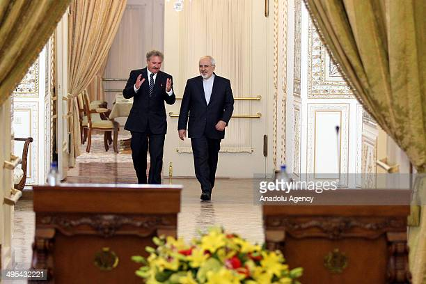 Foreign Minister of Iran Mohammad Javad Zarif meets with his Luxembourgian counterpart Jean Asselborn in Tehran Iran on 3 June 2014 Zarif and...